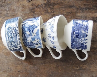Blue and White Mismatched Tea Cups Set of 4 Blue Transferware Cups Rustic Cottage Chic, Tea Party, Antique Wedding, Bridesmaid Gifts