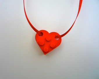 Heart Necklace or Bracelet made of lego® pieces on red ribbon
