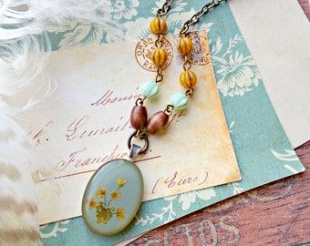 encased flower necklace, dried flowers, lucite, saffron yellow, aqua blue, holland, beaded, czech glass, remixed, revamped vintage jewelry