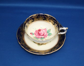 Vintage Paragon Cobalt Gold Gilt Rose Teacup and Saucer by Royal Appointment for The Queen & H.M. Queen Mary circa 1940's 97356T  Elizabeth