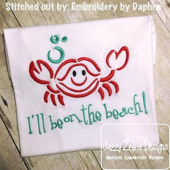 Crab with Bubbles Satin Stitch Outline Embroidery Design - crab Embroidery Design - beach Embroidery Design - summer Embroidery Design