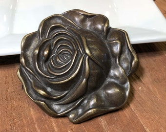 Vintage Rose Bronze Belt Buckle
