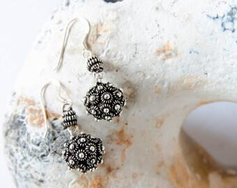 Sterling Silver Earrings, Drop Earrings, Ball Earrings, Boho Earrings, Oxidised Earrings, Ethnic Earrings, Gift For Her, Womens Gift, 925