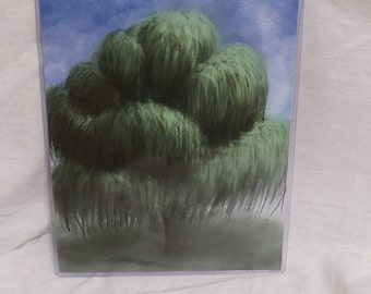 Weeping Willow Tree Art Print 8x10 Sunset Cotton Etching Paper