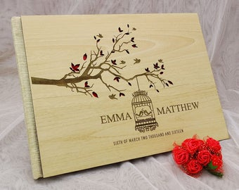Wood Wedding Guest Book, Rustic Wedding Guest Book, Personalized Wedding Guest Book, Custom Guest Book, Gift For Couple GB32