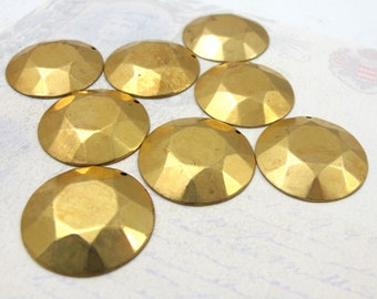 Brass Faceted Circle Pendants (8X) (M683)