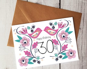 30th Bird Greetings card, 30th Bird Birthday Card, 30th Birthday Card, Blank Bird Greetings Card, Handmade Birthday Card, WORLDWIDE SHIPPING
