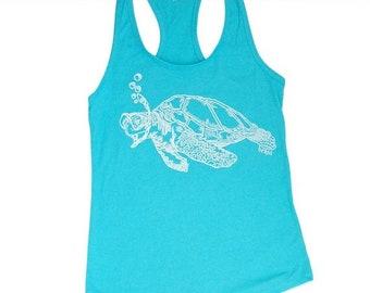 Snorkeling Turtle Tanks for Women - Womens Tanks - Loose Fit Tanks - Womens Funny Top - Flowy Tank Tops - Cute Tanks - Tahiti Blue Tank