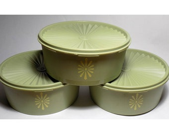 1970s 3pc Tupperware Canister Set, Avocado Green with Retro Pattern, Stackable, with Lids