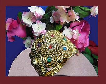Vintage cuff bracelet, Etruscan jeweled cuff bracelet. UNSIGNED