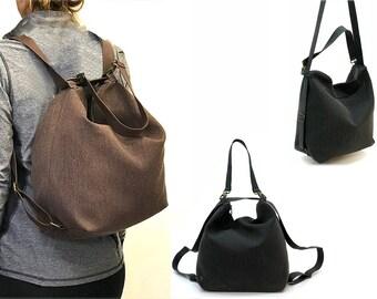 Sale!! Backpack convertible backpack purse Non leather Brown Vegan messenger bag backpack women crossbody bag