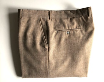 Vintage Men's 70's Tan, Pants, Tan, Flat Front Slacks by Haband (W40)
