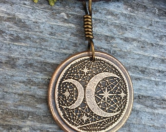 Moon Stars Pendant, Moon Necklace, Celestial Jewelry, Pagan Witch Jewelry, Graduation Gifts, Cresent Moon Necklace, Wax Seal Charm, Bronze