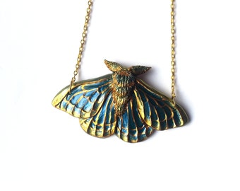 Green/Blue and Gold Moth Necklace - Resin Necklace - Resin Moth Pendant - Gothic Jewelry - Gothic Moth Necklace - Sculpted Necklace
