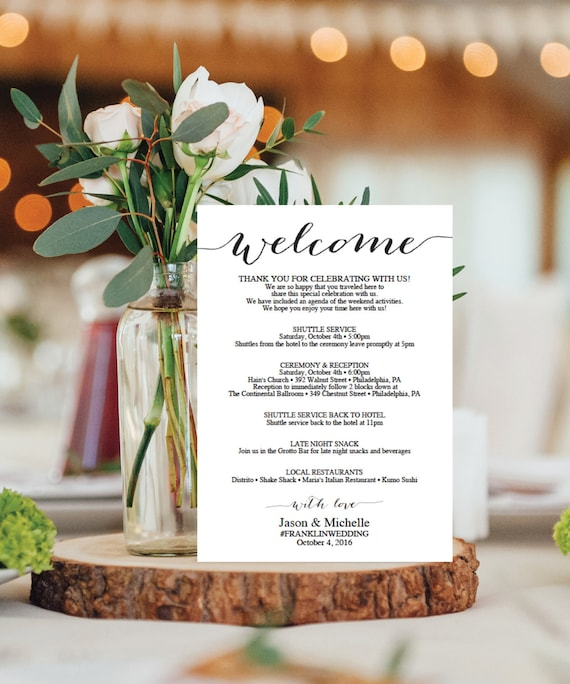 Wedding Itinerary Template Wedding Welcome Bag Printable