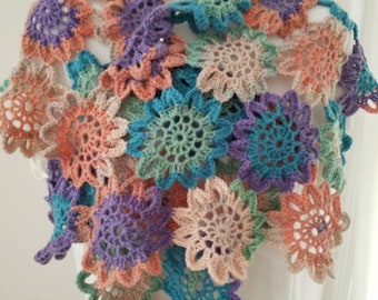 One-of-a-kind Wrap  - Wearable Art - Hand-crocheted Japanese Flowers - Southwest Colors - No wool