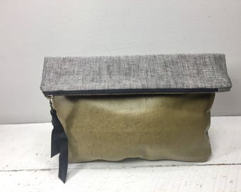 Leather and grey linen clutch, bag, leather bag, leather clutch, fold over bag, clutch, bag, small purse