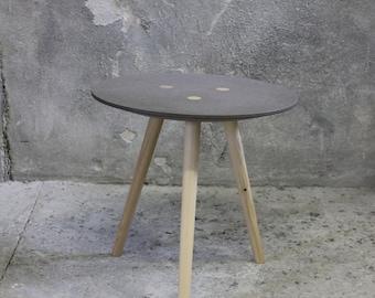 Large Ida-side table, shelf table, stool-MDF grey/FIR