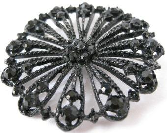 Black Filigree Flower - vintage brooch