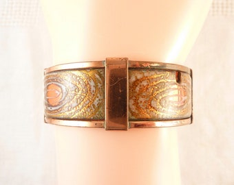 SALE ----- Vintage Matisse Enamel Copper Hinged Bracelet