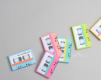 Cassette Tape Gift Card Holder - 1980s, Retro Cassette Tapes, Favor Box, Gift Card Box - Printable PDF - INSTANT DOWNLOAD - by Paper Built