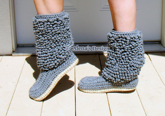 Crochet Boot Pattern Crochet Pattern 140 Cozy Women's Lamb Boots Grey Crochet Slipper Pattern Adult Winter High-top Boots Jute Soles
