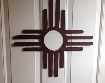Zia Sun Sign, 19 inch Zia Sun Symbol, Metal Zia Sun