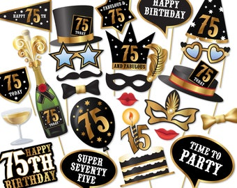 75th birthday Photo Booth props - Instant Download printable PDF. Seventy Fifth birthday party Photo Booth supplies. 75 Today - 0183