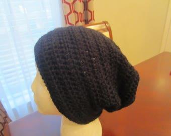 Hand Crochet Black Slouchy Hat