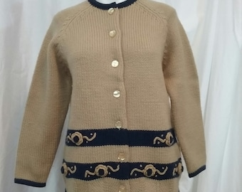 Vintage Tami Wool Crop Cardigan Sweater Khaki and Navy