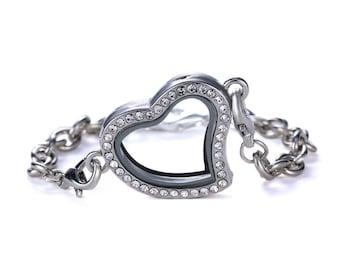 Heart Pendant Floating Locket Bracelet - Floating Charm Bracelet FLPT-39