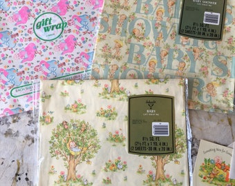 Vintage Baby Wrapping Paper Lot