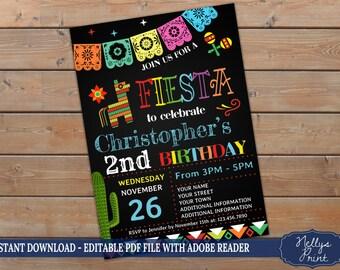 Fiesta Invitation, Fiesta Birthday Invitation, Fiesta Party Invitation, Self Editable PDF file, Instant Download, Girl or Boy Invitation