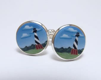 Lighthouse Scene Cufflinks, Polymer Clay Cane, Silver Suit Accessory, Hatteras North Carolina, Men's Jewelry, Unique Gift, Nature Landscape