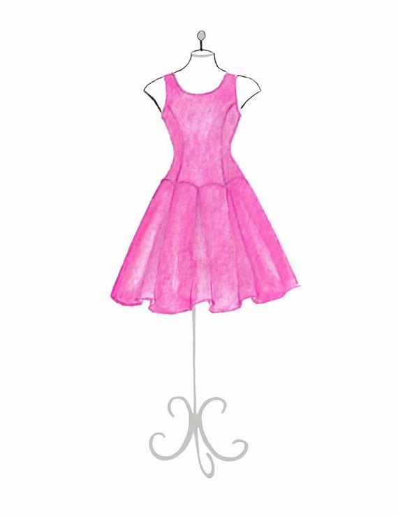 Vestido rosa acuarela moda ilustración de moda dibujo imprimir