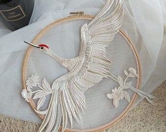 2pcs 42x37cm wide beige embroidery dress appliques patches G24R7P0128N free ship