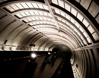 Photograph Black and White Washington DC Underground Metro Train Station Urban Georgetown Horizontal Subway Travel Art Print Home Decor