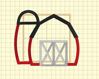 Barn With Silo Iron On or Sew On Applique - Custom Made Embroidered Applique