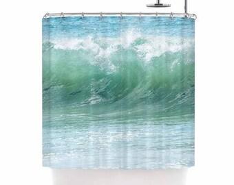 Ocean shower curtain, beach shower curtain, aqua shower curtain, beach bath decor, aqua bath decor, crashing waves, surf shower curtain,