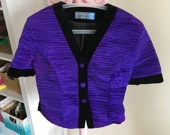 Vintage 80s 'Expressions' Purple and Black Velvet Jacket