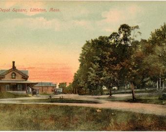 Vintage Postcard, Littleton, Massachusetts, Railroad Depot Square, ca 1910