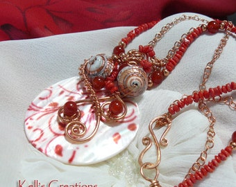 Red Arabesque Coral Copper and Mother of Pearl Pendant