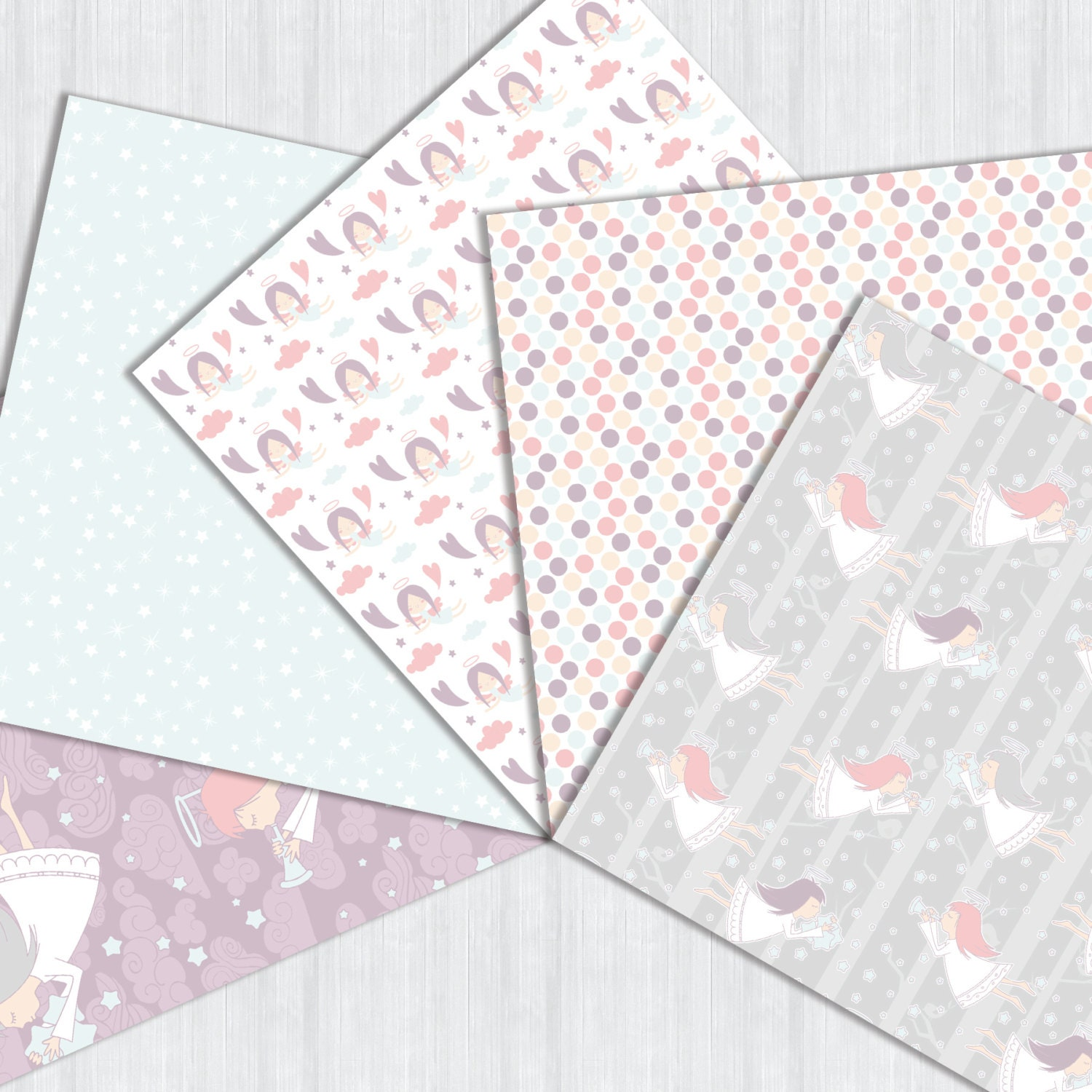 Angels digital pack printable baby pink angels digital paper this is a digital file jeuxipadfo Images