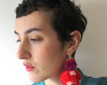RED Pom Pom chandelier earrings