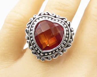 925 sterling silver - faceted orange stone love heart sz 8 solitaire ring r1071