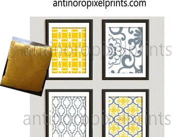 Damask Mustard Yellow Grey White Prints, Set of (4) Wall Art Prints, Custom Colors Sizes Available #457368564
