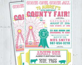 Printable County Fair Birthday Party Invitation -- Country Festival 4H Petting Zoo Circus Carnival Party -- PNG & JPG