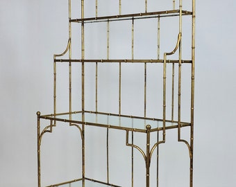 Hollywood Regency Style Mid Century Faux Gilt Bamboo And Glass Étagère