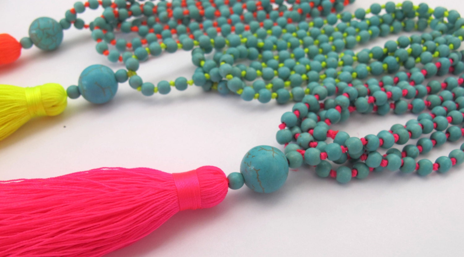 bright beaded tassel necklace aqua beaded neon brights. Black Bedroom Furniture Sets. Home Design Ideas