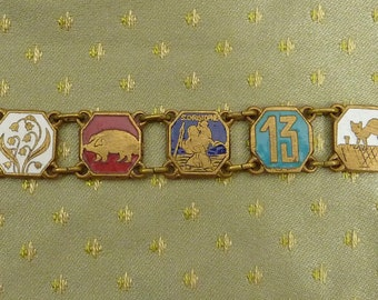 Reserved for janeyjewelrybox only Vintage French Enameled GOOD LUCK Symbols Bracelet